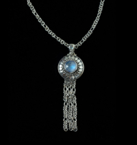 Silver Rainbow Moonstone Tassel Necklace
