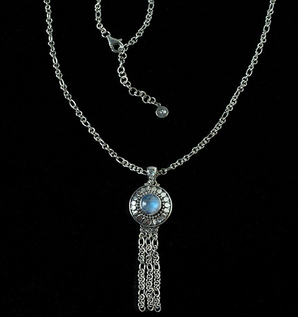 Handcrafted Moonstone Tassel Necklace in Sterling Silver with Rainbow Moonstone