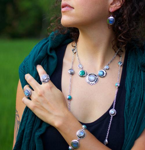 Sterling Silver Moonstone Labradorite Bracelet