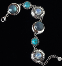 Handcrafted Moonstone Labradorite Bracelet with Tibetan Turquoise in Sterling Silver