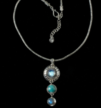 Sterling Silver Sun Moon Necklace with Rainbow Moonstone, Turquoise & Labradorite