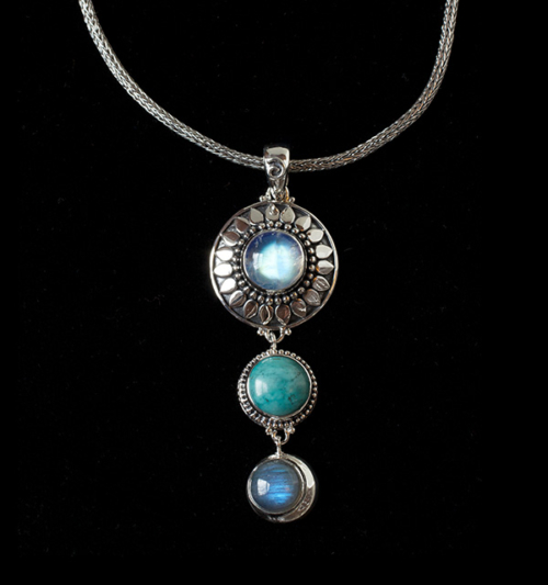 Silver Sun Moon Gemstone Necklace