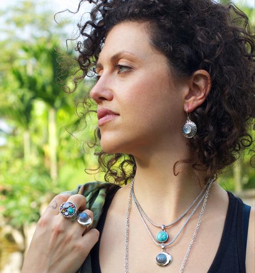 Sterling Silver Rainbow Moonstone Sun Earrings