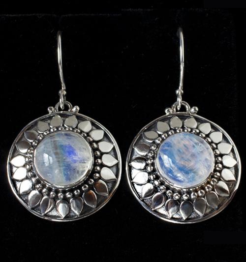 Handcrafted Rainbow Moonstone Sun Earrings in Sterling Silver