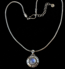 Handcrafted Sterling Silver Rainbow Moonstone Sun Necklace