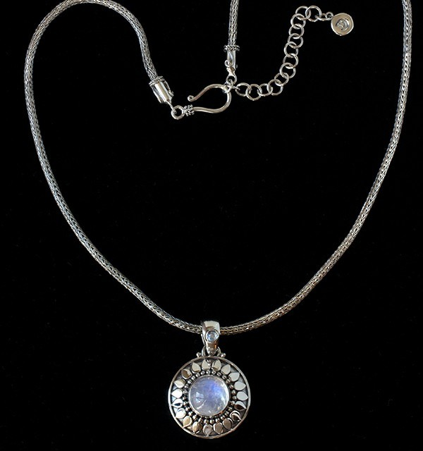 Rainbow Moonstone Sun Necklace in Sterling Silver