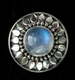 Handcrafted Silver Moonstone Sun Ring in Sterling Silver with Rainbow Moonstone