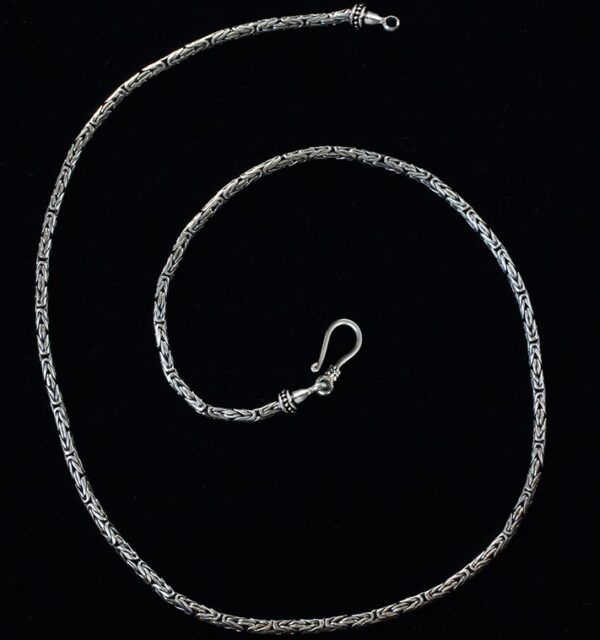 Long Sterling Silver Byzantine Chain handcrafted in Bali