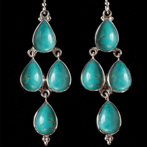 Silver Turquoise Dangle Earrings handcrafted with Tibetan Turquoise