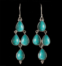 Sterling Silver Turquoise Dangle Earrings handcrafted with Tibetan Turquoise