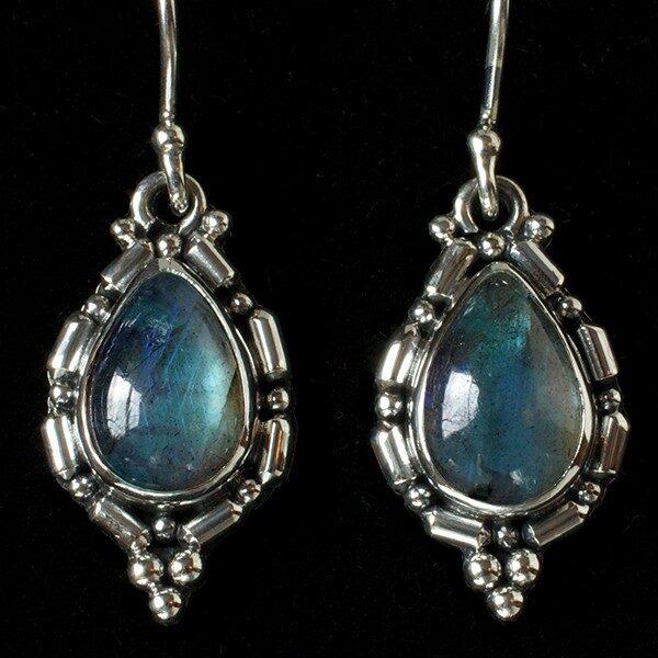 Sterling Silver Labradorite Earrings handcrafted in Bali