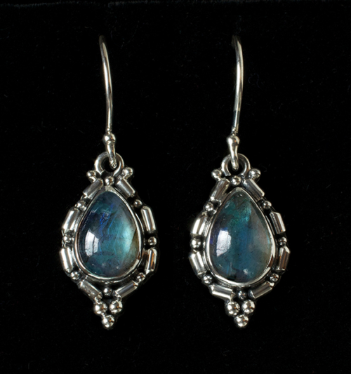 Sterling Silver Labradorite Earrings handcrafted in Bali