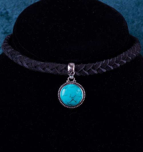 Sterling Silver Turquoise Choker handcrafted with Tibetan Turquoise