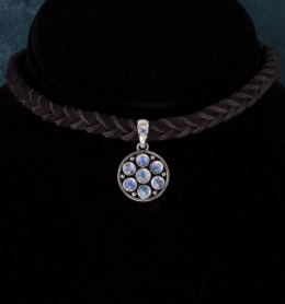 Sterling Silver Rainbow Moonstone Choker handcrafted in Bali