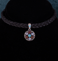 Sterling Silver Multi Gemstone Choker with Rainbow Moonstones, Tibetan Turquoise, Amber & Carnelian