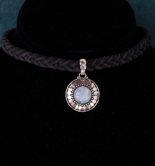 Rainbow Moonstone Sun Choker handcrafted in Sterling Silver