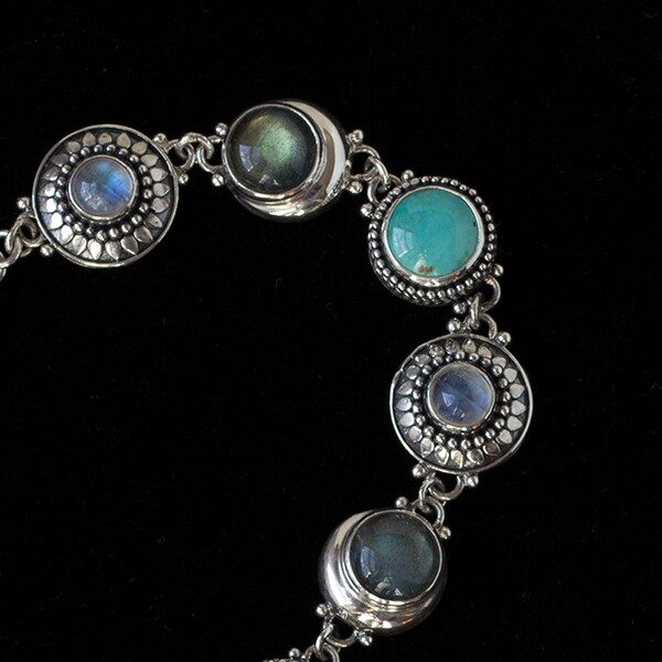 Multi Gemstone Celestial Bracelet handcrafted in Sterling Silver with Rainbow Moonstones, Labradorite & Tibetan Turquoise gemstones