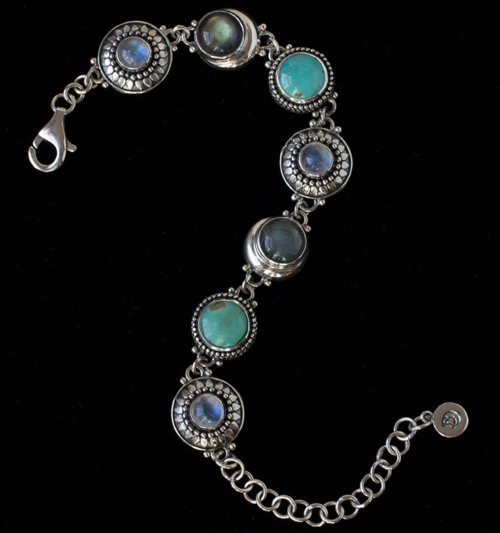 Multi Gemstone Celestial Bracelet handcrafted in Sterling Silver with Rainbow Moonstones, Labradorite & Tibetan Turquoise gemstones