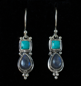 Silver Labradorite Turquoise Earrings handcrafted in Sterling Silver
