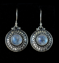 Silver Moonstone Sun Earrings handcrafted in Sterling Silver with Rainbow Moonstones