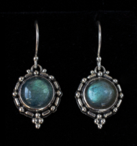 Labradorite Balinese Earrings handcrafted in Sterling Silver