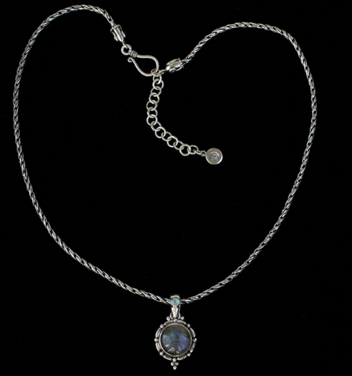 Sterling Silver Labradorite Necklace handcrafted with a Balinese design, accented by a Rainbow Moonstone on the bail