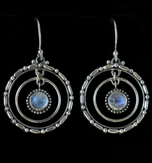 Sterling Silver Moonstone Hoop Earrings handcrafted with Rainbow Moonstones
