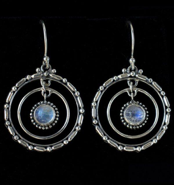 Sterling Silver Moonstone Hoop Earrings handcrafted with Rainbow Moonstones