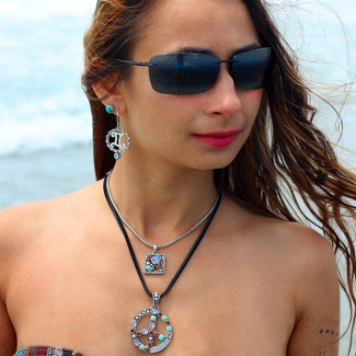 Handcrafted Sterling Silver Multi Gemstone Jewelry featuring peace signs and Zodiac symbols