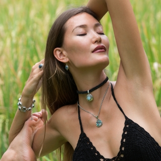 Sterling Silver Yoga Jewelry handcrafted with Rainbow Moonstones, Labradorite & Tibetan Turquoise