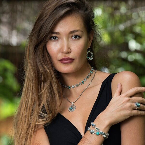 Art Nouveau Moonstone Earrings handcrafted in Sterling Silver with Rainbow Moonstones, Labradorite & Tibetan Turquoise Gemstones