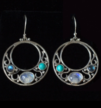 Art Nouveau Moonstone Earrings handcrafted in Sterling Silver with Rainbow Moonstones, Labradorite and Tibetan Turquoise
