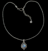 Rainbow Moonstone Teardrop Necklace handcrafted in Sterling Silver
