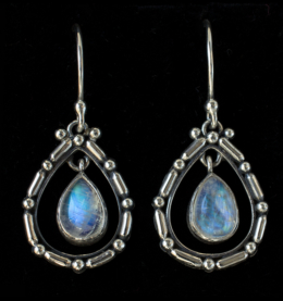 Rainbow Moonstone Teardrop Earrings handcrafted in Sterling Silver