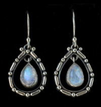 Dangling Rainbow Moonstone Teardrop Earrings