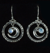 Rainbow Moonstone Moon Earrings handcrafted in Sterling Silver
