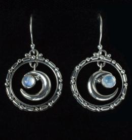 Rainbow Moonstone Moon Earrings handcrafted in Sterling Silver