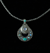 Multi Gemstone Celestial Necklace in Sterling Silver