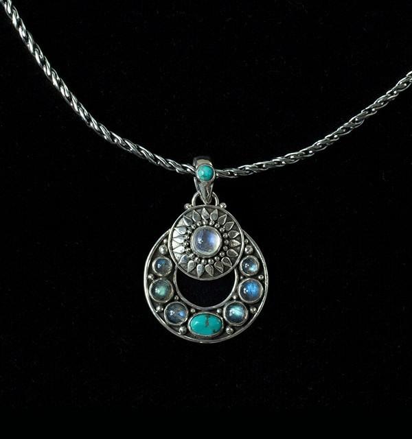 Multi Gemstone Celestial Necklace in Sterling Silver