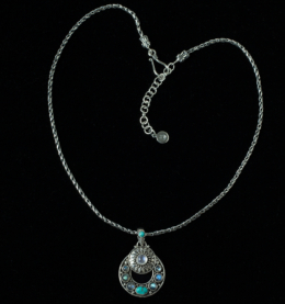 Multi Gemstone Celestial Necklace handcrafted in Sterling Silver with Rainbow Moonstones, Labradorite & Tibetan Turquoise gemstones