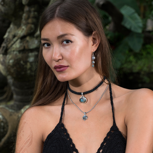 Celestial Gemstone Earrings handcrafted in Sterling Silver with Rainbow Moonstones, Labradorite & Tibetan Turquoise gemstones