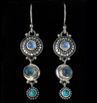 Celestial Gemstone Earrings handcrafted in Sterling Silver with Rainbow Moonstones, Labradorite & Tibetan Turquoise gemstones