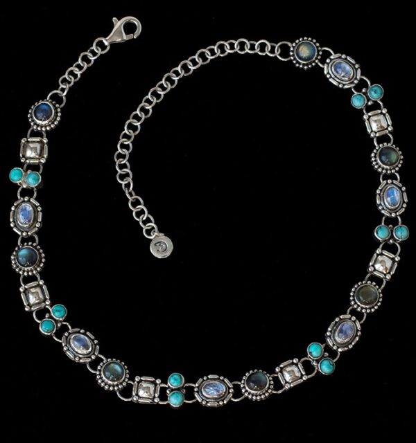 Multi Gemstone Moonstone Choker handcrafted in Sterling Silver with Labradorite, Tibetan Turquoise and Rainbow Moonstones