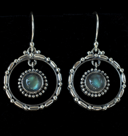 Sterling Silver Labradorite Hoop Earrings handcrafted in Bali