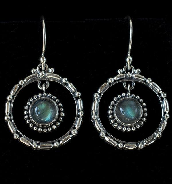 Sterling Silver Labradorite Hoop Earrings handcrafted in Bali