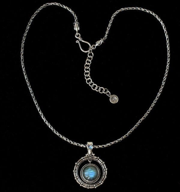 Labradorite Moonstone Necklace handcrafted in Sterling Silver accented by the Rainbow Moonstone on the bail