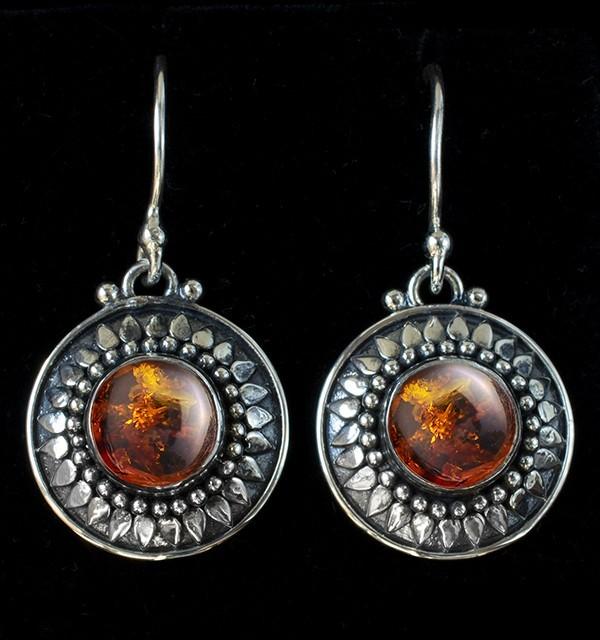 Baltic Amber Sun Earrings handcrafted in Sterling Silver in Bali