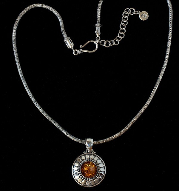 Baltic Amber Sun Necklace handcrafted in Sterling Silver with Rainbow Moonstone
