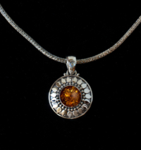 Silver Baltic Amber Sun Necklace