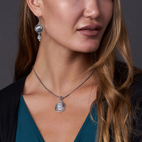 Moonstone Balinese Necklace handcrafted in Sterling Silver with Rainbow Moonstone